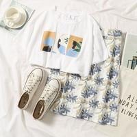 Abstract Pattern Skirt Set Summer Beach Style Women 2019 Casual Short Sleeve White T shirt + High Waist Floral A line Skirt Set