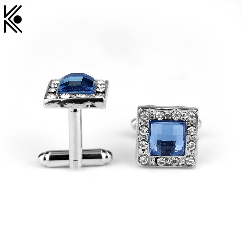 High Quality Gemelos Cufflinks Blue Crystal Square Fashion Shirt Brand Cuff Buttons Jewelry woman Christmas gift