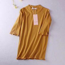 New Ruffles Spring Summer Knitted Women T Shirt High Elasticity Half Sleeves OL Elegant Top Fashion Slim Sexy Female Tshirt D99