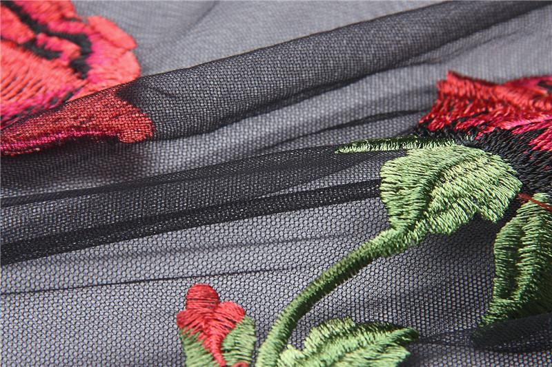 HTB1mokNQpXXXXatXVXXq6xXFXXXD - Embroidery Romantic Flower Floral Red Rose T-Shirt PTC 71