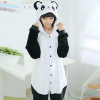 Adult Unisex Pajamas Unicornio Adult Panda Full Sleeve Hooded Polyester Pajama Sets Pijamas Mujer Couples Pajamas