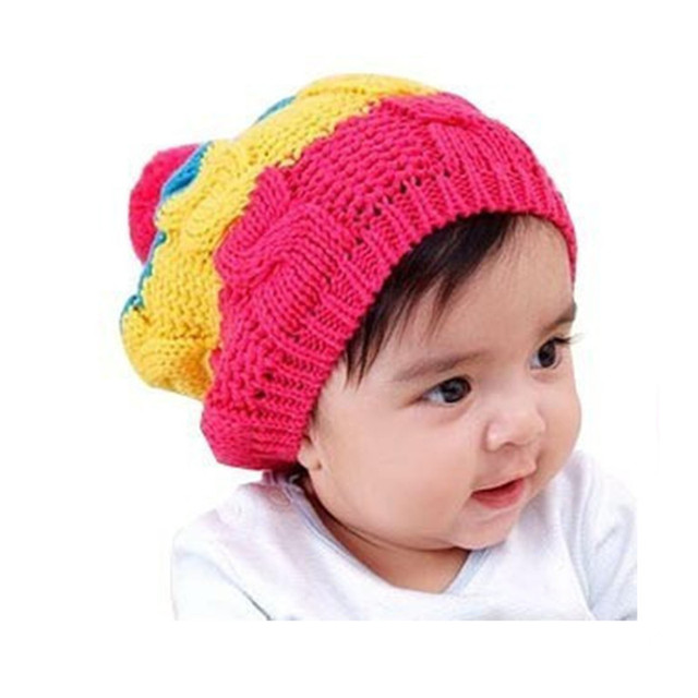 2015 New Fashion Candy Colored Rainbow Striped Knitted Fur Baby Cap Children Accessories Winter Girls Hats Brand Free Shipping