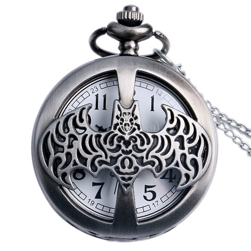 Dark Gray Steampunk Titanium Steel Batman Pocket Watch Necklace Mens/Womens Jewelry Promoations Reloj Batman Hombre