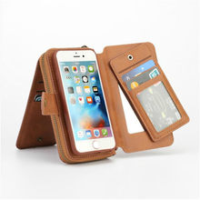 BRG Popular Zipper Flip Wallet Leather Case For IPhone 5 6S P 7 8 X Portable Folio Holster Cash Slot 11 CARD HOLDER DETACHABLE(China)
