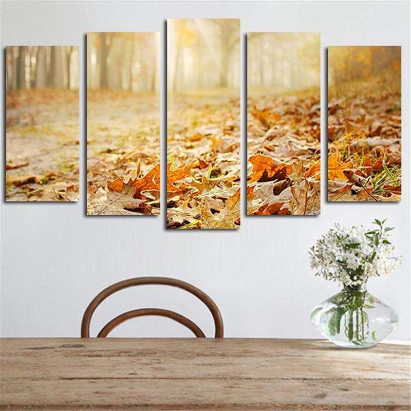 2017 5pcs Wandkunst Home Decoration Landschaft Herbstlaub Leinwand - Wohnkultur - Foto 6