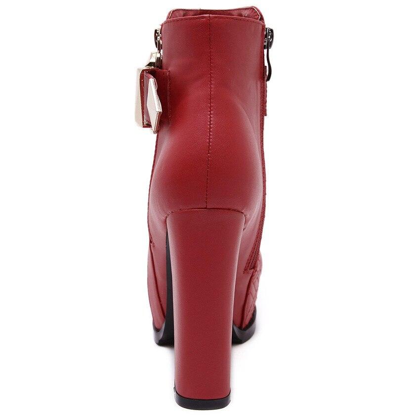 Femme Talons Plate Automne Pompes Des Bottes Haute Printemps Courtes rouge Bottines Noir Femmes Qualité forme Chaussures Botas d08Uvxd5wq