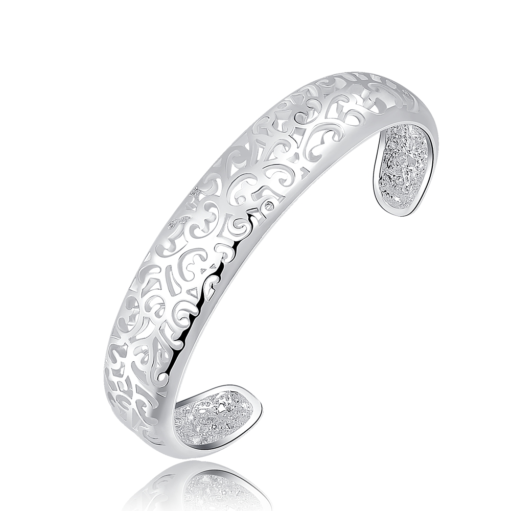New listing lady cute nice noble hollow silver plated fashion charm women retro pattern bracelets bangle