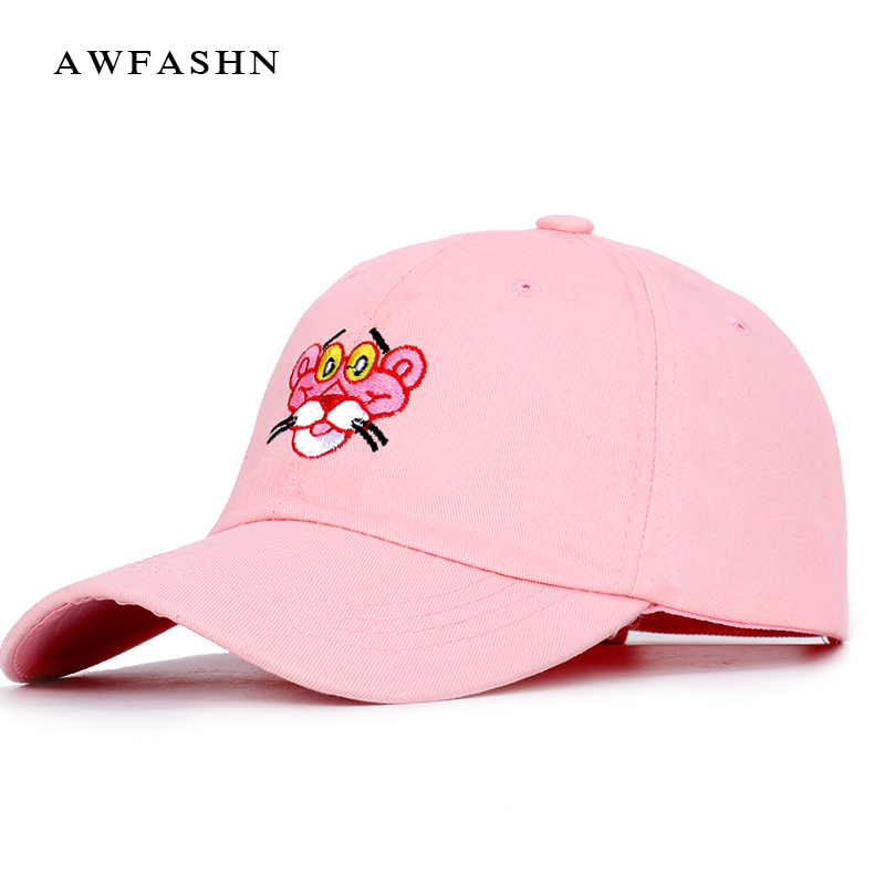 2019 New Fashion Cartoon Embroidered   Baseball     Cap   Trend Brand Hip Hop Hat Man Woman Pink Panther High Quality Adjustable Bone