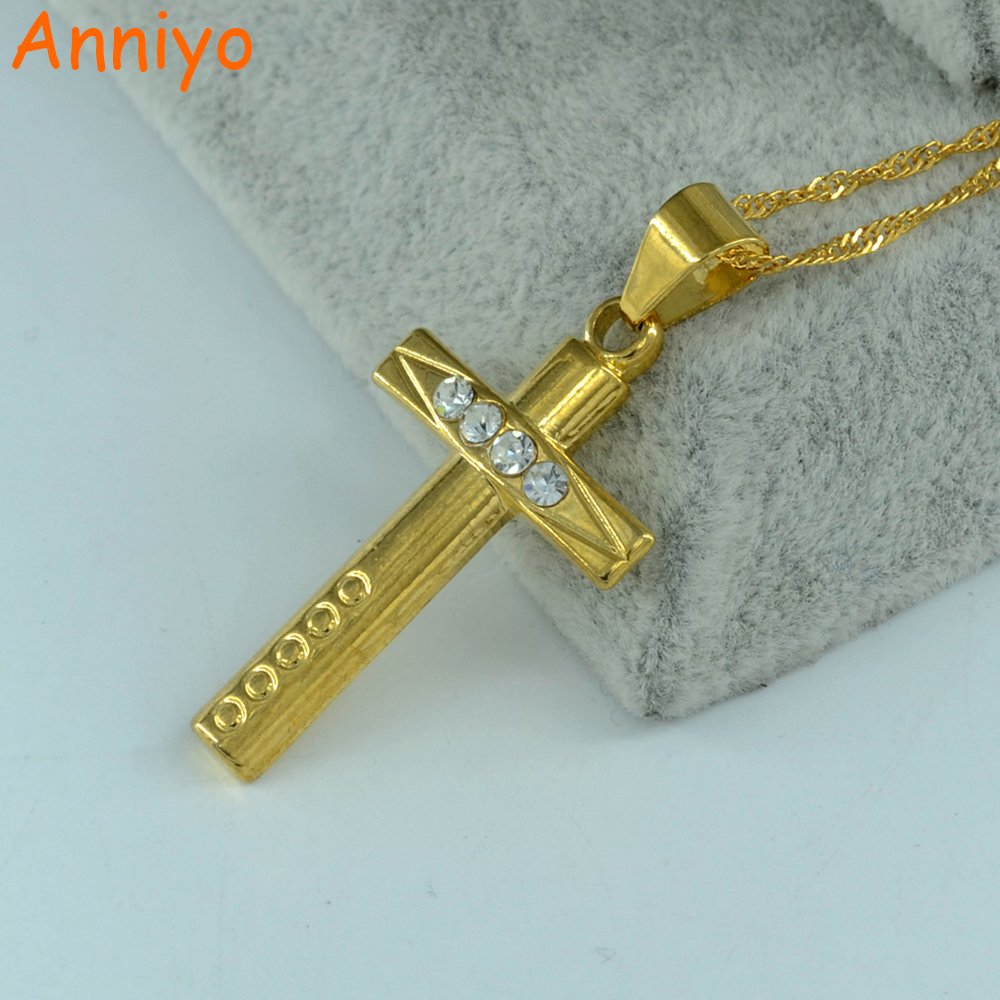 Anniyo Ethiopian cross necklace pendant for women gold color brazilian cross jewelry christ jewel