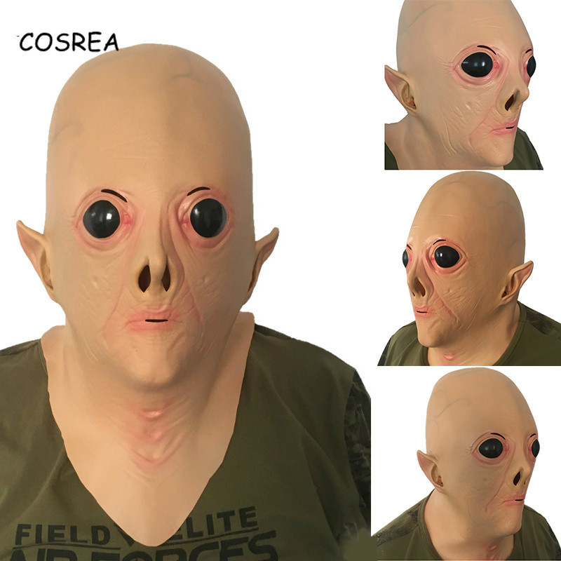 Alien Scary Mask UFO Big Eyes Latex Full Face Mask Adult Cosplay Costume Fancy ET Horror Prop Terror Masks Halloween Party Men