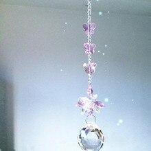 Гирлянда чакра спектры 1 шт Розовый Цвет Кристалл Стекло солнечные Ловец подвески для украшения дома, Рождественская елка Висячие капли