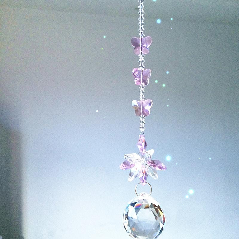 Garland Chakra Spectra 1PCS Pink Color Crystal Glass Suncatcher Pendants For Home Decoration,christmas Tree Hanging Drops