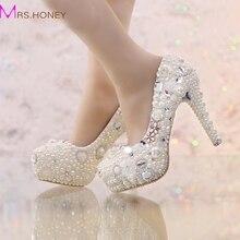 Ziemlich Weiße Perlenhochzeitsschuhe Wahre Liebe Strass Plattform Brautkleid Schuhe Adult Ceremony Partei Pumps Handmade High Heels