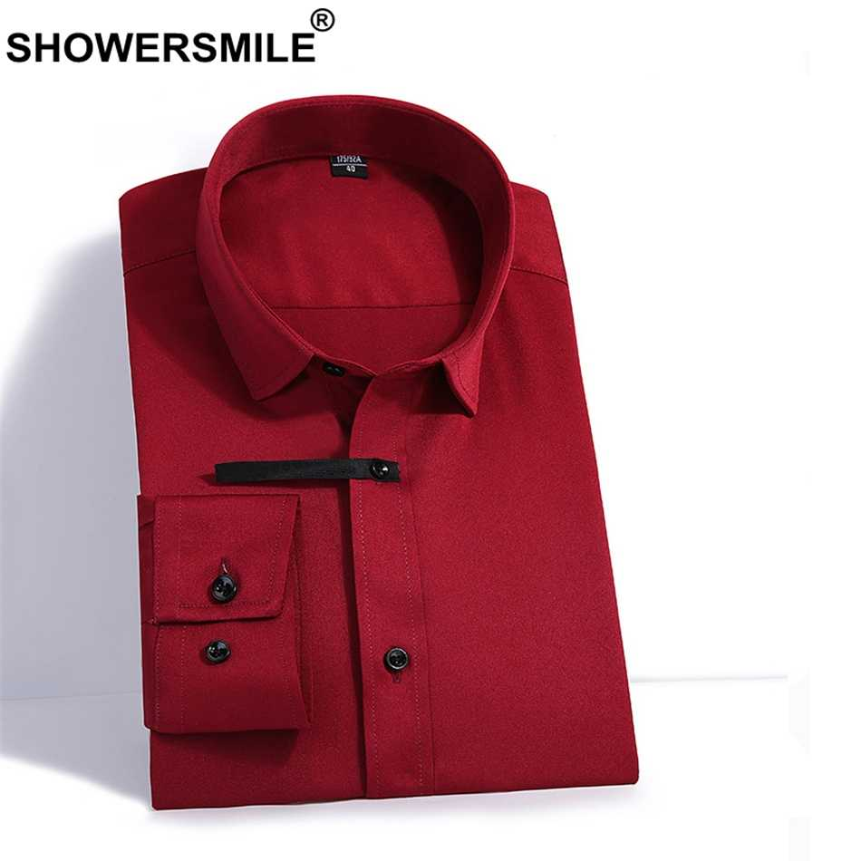 SHOWERSMILE Burgundy Men Long Sleeve Shirt Summer Formal Shirts For Men Dress Bamboo Fiber Shirt Slim Fit 4xl Plus Size Clothes