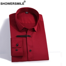 SHOWERSMILE Burgundy Men Long Sleeve Shirt Summer Formal Shirts For Dress Bamboo Fiber Slim Fit 4xl Plus Size Clothes