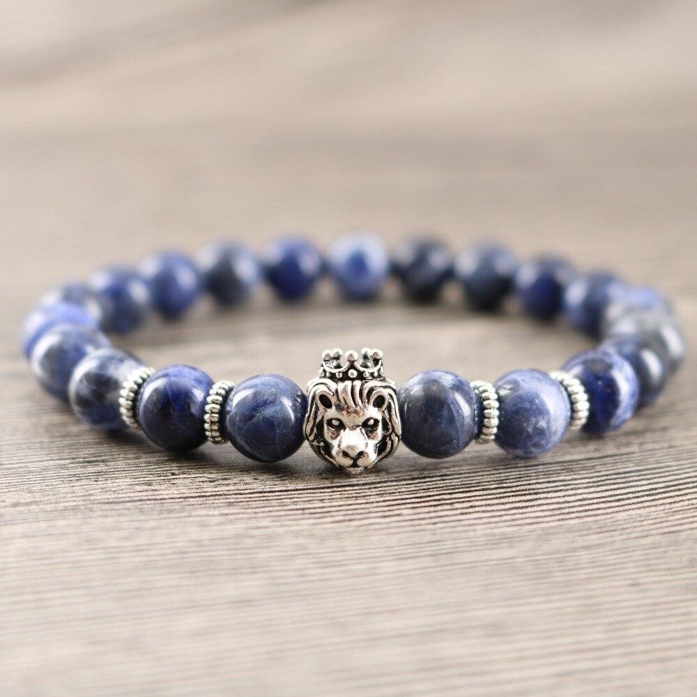 Natural Blue Stones DIY Handmade Beaded Wrap Bracelets Lion Jewelry Men Groomsmen Gift Power Bracelet Drop Shipping