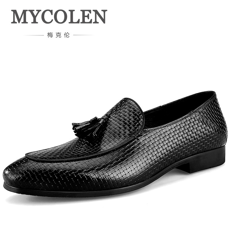 MYCOLEN Hand Woven Men Loafers Leather Pointed Toe Business Dress Shoes Formal Shoes For Men Wedding Shoes Heren Schoenen Leer mycolen men formal shoes luxury business dress shoes full leather pointed toe loafers men wedding leather shoe black moccasins