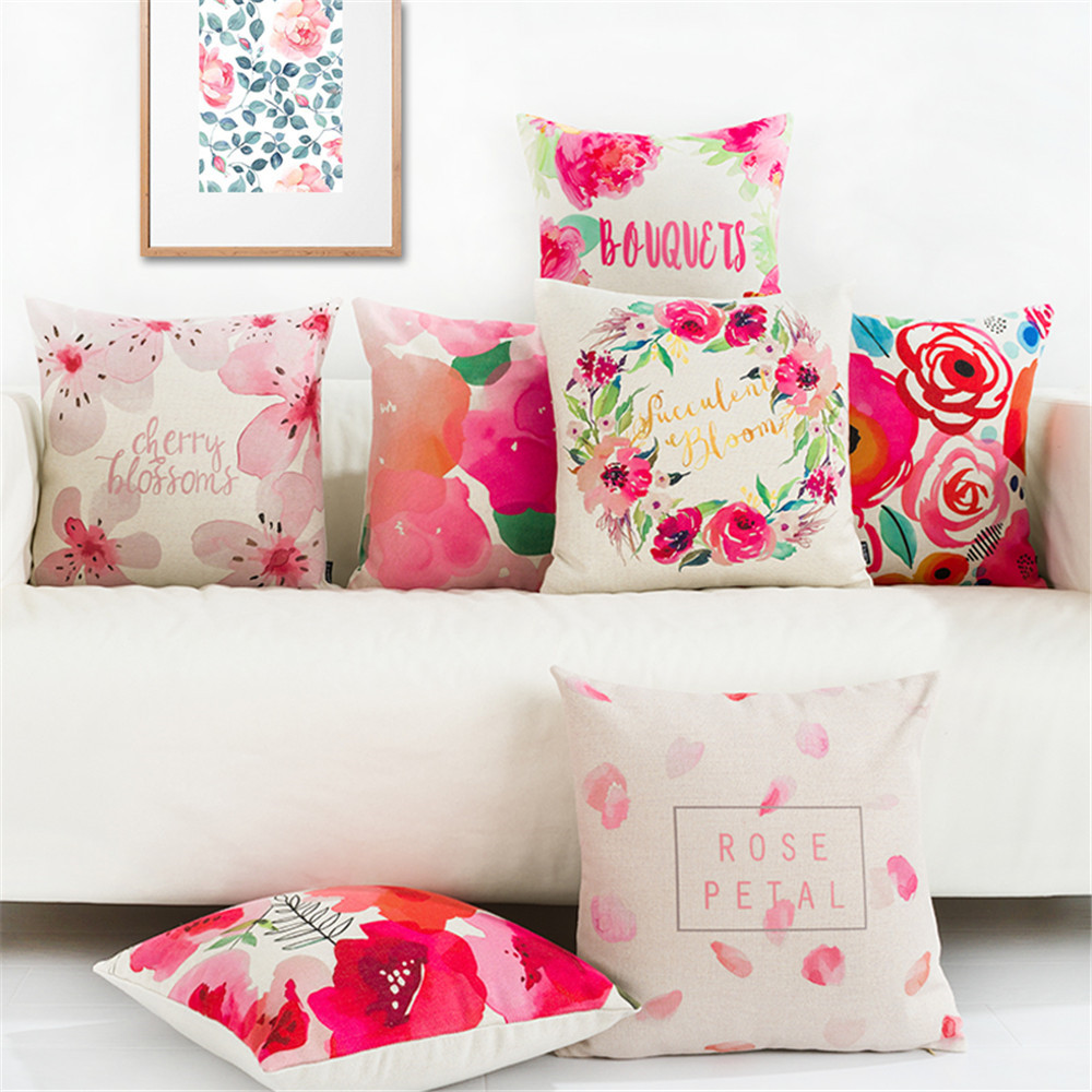 Fresh Flower Red Plant Printed Throw Pillow Cushion Cover Case Funda Cojines Home Textile Cushion Cover For Decoration Sofa