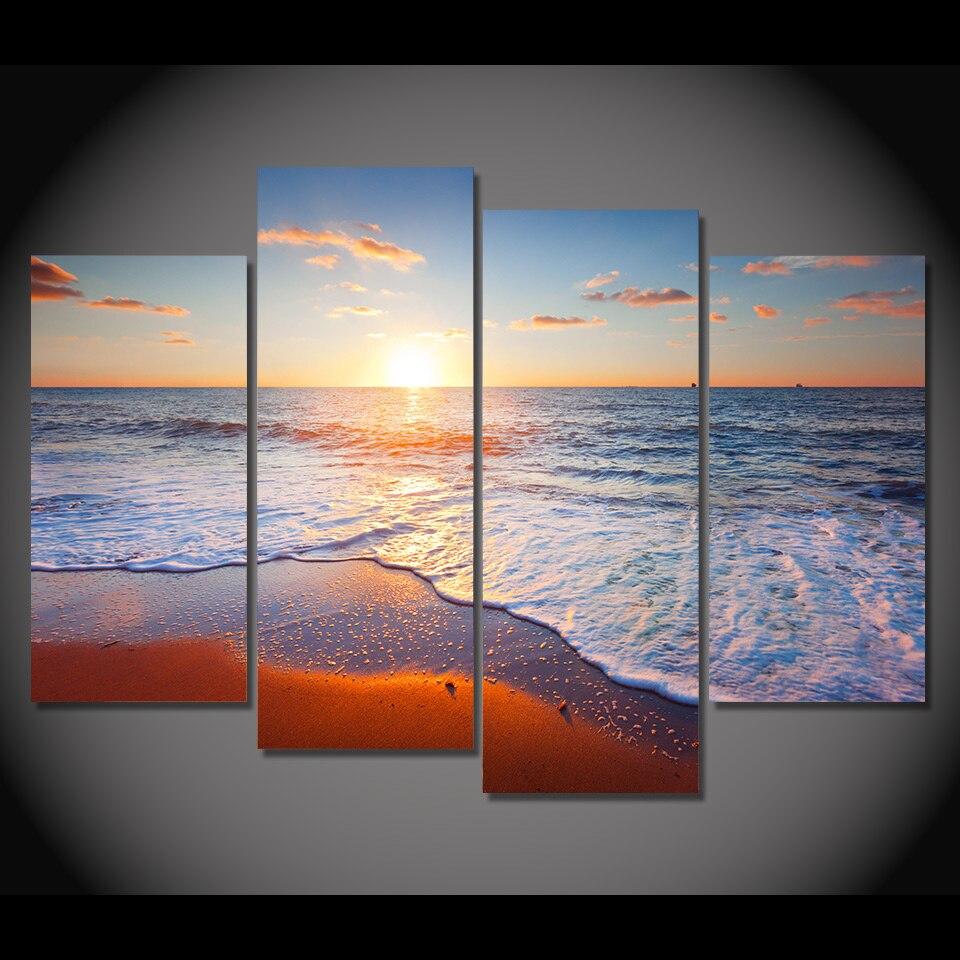 4 Teile/satz Gerahmte HD Gedruckt Strand Wellen Sonnenuntergang Bild ...