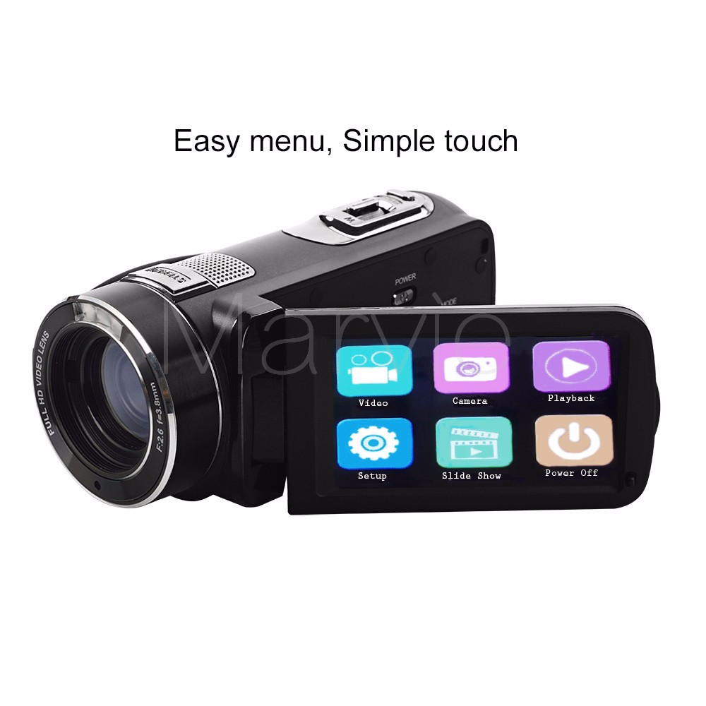 "Marvie FHD Camcorder True 1080p @ 30fps Max 24.0 MP Full Color Screen For Low light 3.0"" Touch Screen 16x Zoom DV Recorder 2"