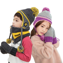 Kocotree Winter Cap For Children Hat Scarf Warm Gloves Set Kids Boy Girl s Skullies Beanies
