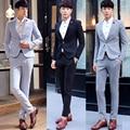 Últimas bragas de la capa diseña 2016 Mens trajes con pantalones delgados ajuste de la moda Coreana hombres boda del novio de negocios vestido 2-piezas de este conjunto trajes