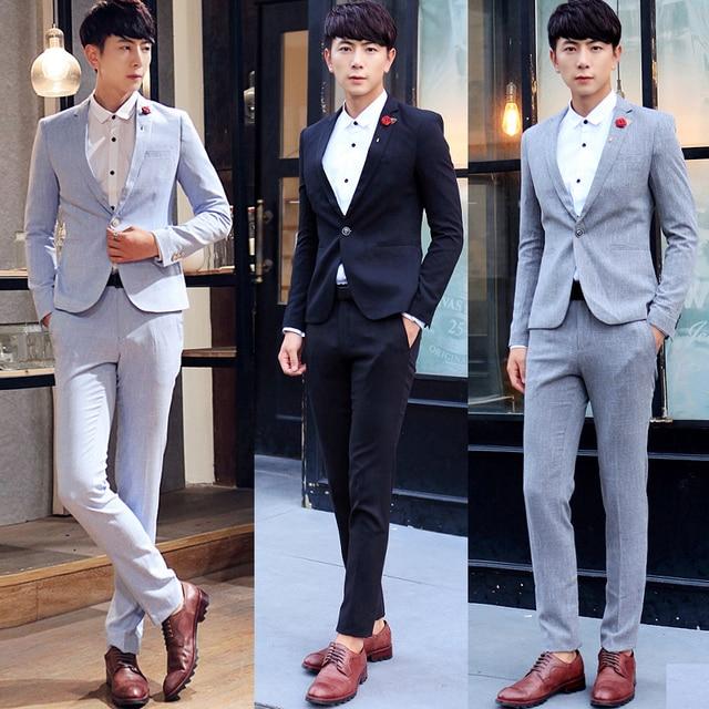 35b1909a00de latest coat pant designs 2016 Mens suits with pants slim fit Korean fashion  business groom men