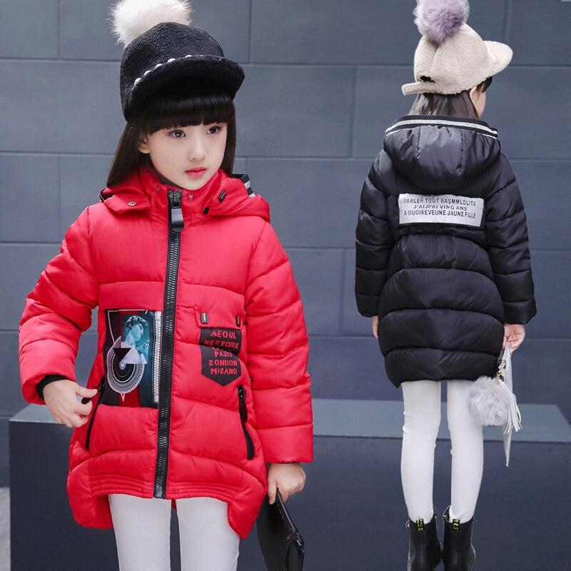2016 kız Kış ceket ceket çocuk pamuk giyim kız desen uzun coat kabanlar