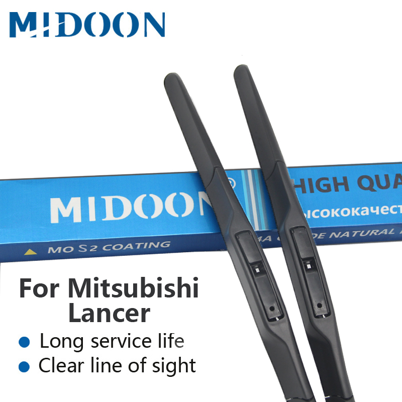 MIDOON Híbrido Wiper Blades para Mitsubishi Lancer Fit Gancho Braços Modelo Ano De 2003 a 2017