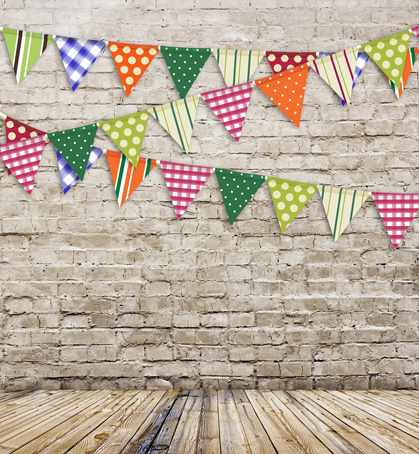 12ft textured brick wall with flags vinyl cloth photo studio backgrounds for birthday kids portrait photography backdrops S-111