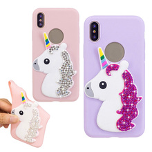 For iphone X Cover Soft TPU Silicon Cute Bling Rhinestone Diamond Unicorn Horse Cartoon Phone Case 8 Plus 7 6 6S 5 5S