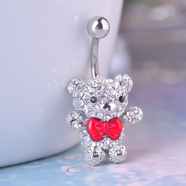 Luxury Brand Enamel Bear Piercing Navel Rings Collar Women's Sex Body Jewelry Body Piercing Fine Summer Accessoreis Percing Man