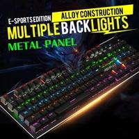 Wired Gaming Keyboard Mechanical Feeling Backlit Keyboards USB Russian Keyboard Waterproof Computer Game Keyboards 104 Keycaps