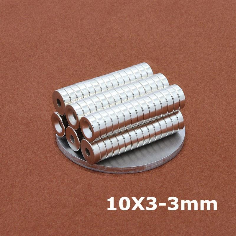 10 шт 10 х 3 мм отверстия: 3 мм неодимовое кольцо магнитные установки маленькие круглые постоянный супер сильный редкоземельных магнитов Disc10 * 3-3 мм