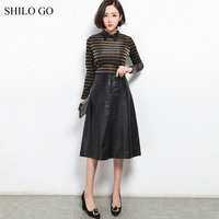 SHILO GO Leather Skirts Womens Spring Fashion sheepskin genuine leather Skirts high waist concise office lady A Line long skirts