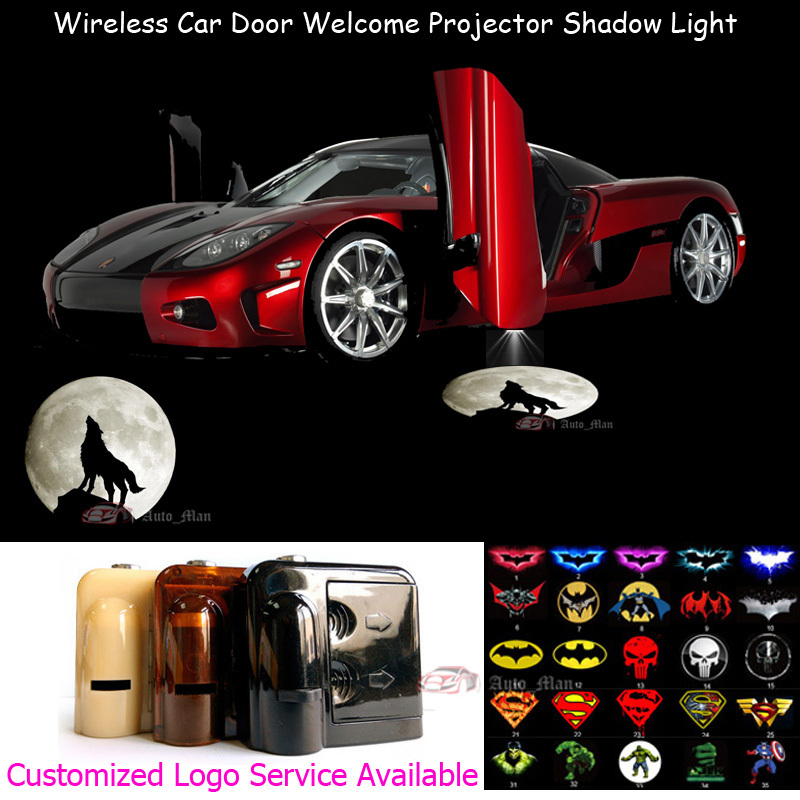 2pcs Wolf Moon Knight Logo Wireless Car Door Welcome Laser Projector Ghost Shadow Puddle LED Lights for skoda octavia led 3w welcome car door logo lights projector laser ghost 3d shadow accessories original door light replace