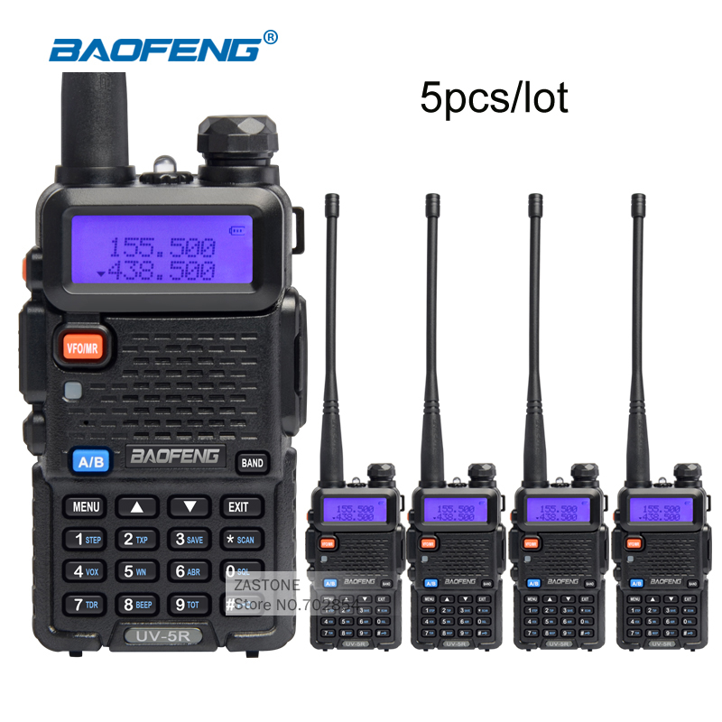 5piece lot BaoFeng UV 5R Interphone VHF 136 174 UHF 400 520 MHz Dual Band Transceiver