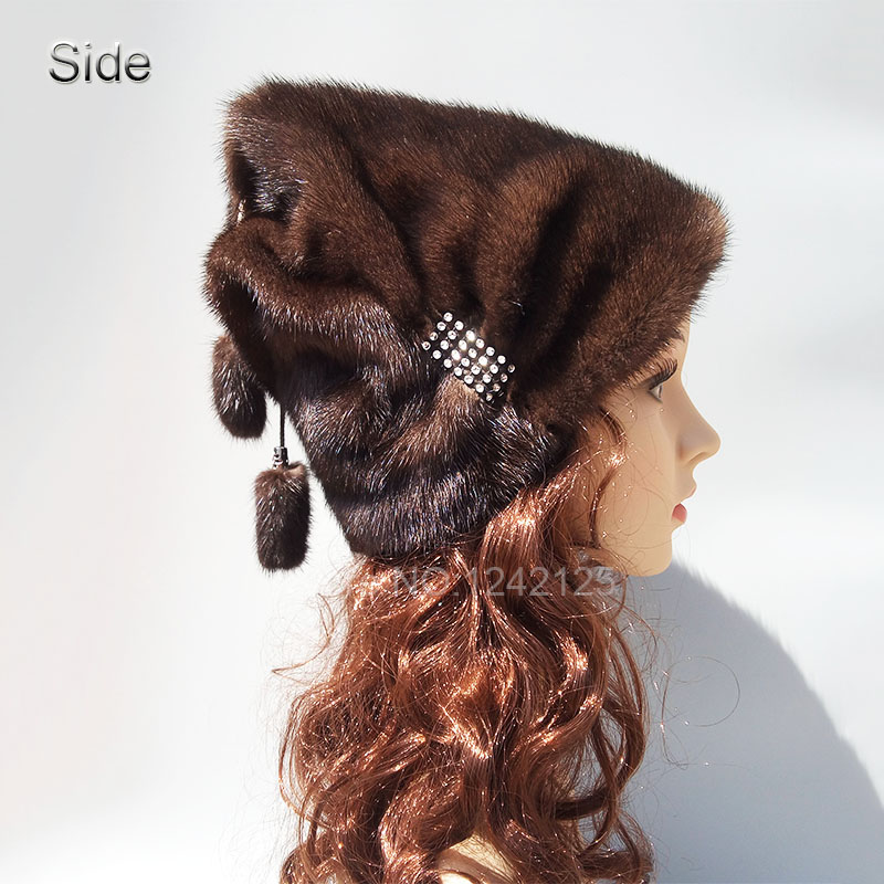 New style winter sweet girls women lady real Mink fur hat High-end Rhinestone warm fur genuine natural mink fur hats caps