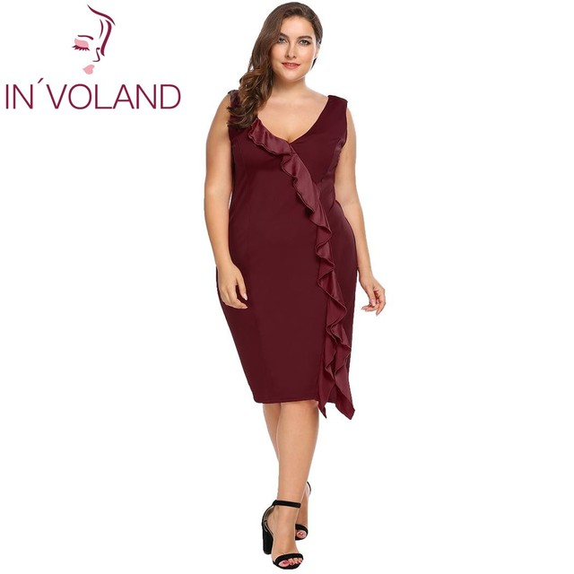 IN VOLAND Plus Size XL-4XL Women Dress V-Neck Sleeveless Ruffles Bodycon  Business Party Midi Large Dresses Vestiods Oversized cf640b157171