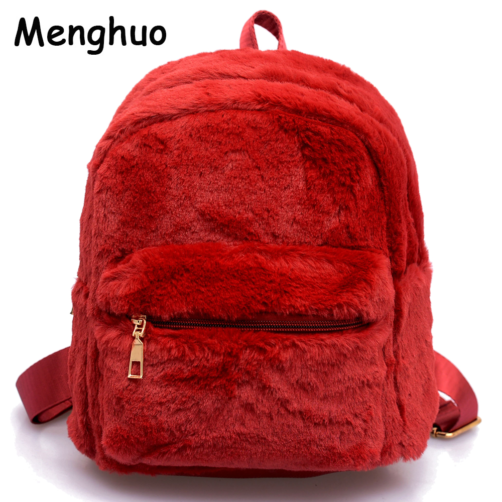Menghuo Women Backpacks Soft Felt Fur Cute Backpack Cartoon Bag For Girls Japanese Lolita Girl Cotton Plush Backpacks Felt Bag