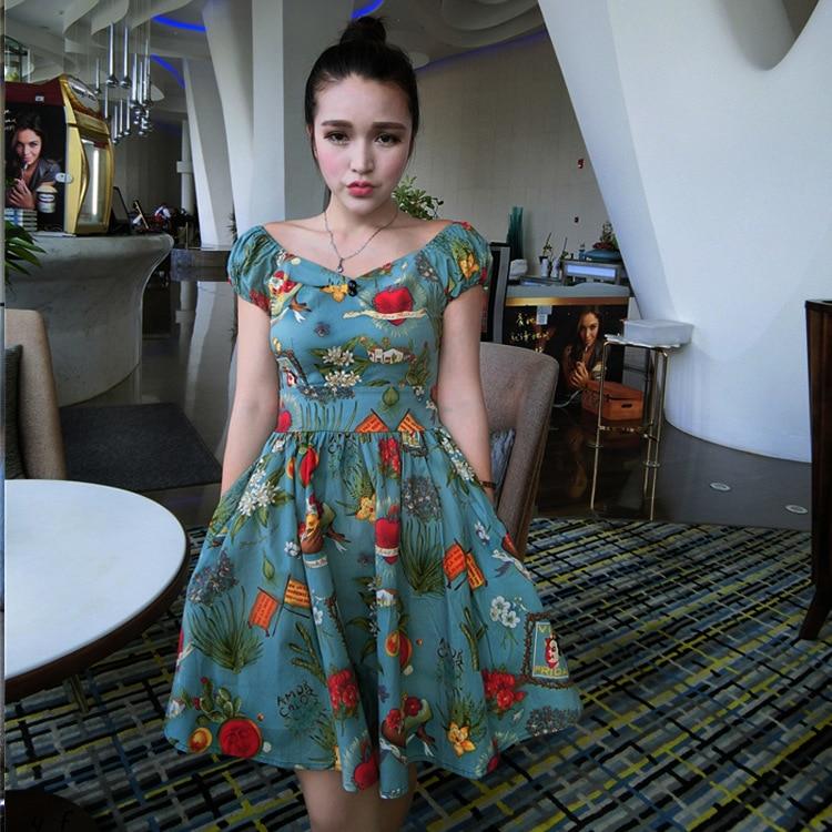Women Frida Kahlo Dress Summer Sweet Print Temperament Puff Sleeve Vintage Sukienka Jurk In Dresses From S Clothing Accessories On