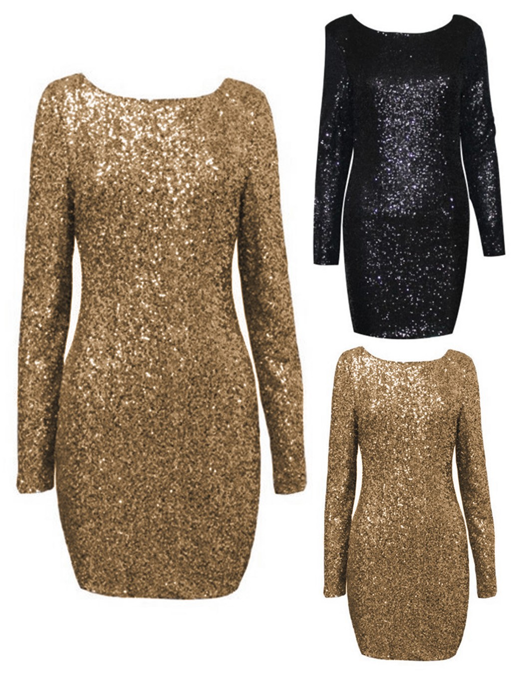 Drop shipping .Fashion major Halter back sequin dress open back long sleeve  backless bodycon party dress 2 colors 10-in Dresses from Women s Clothing  on ... e399f5b634d5