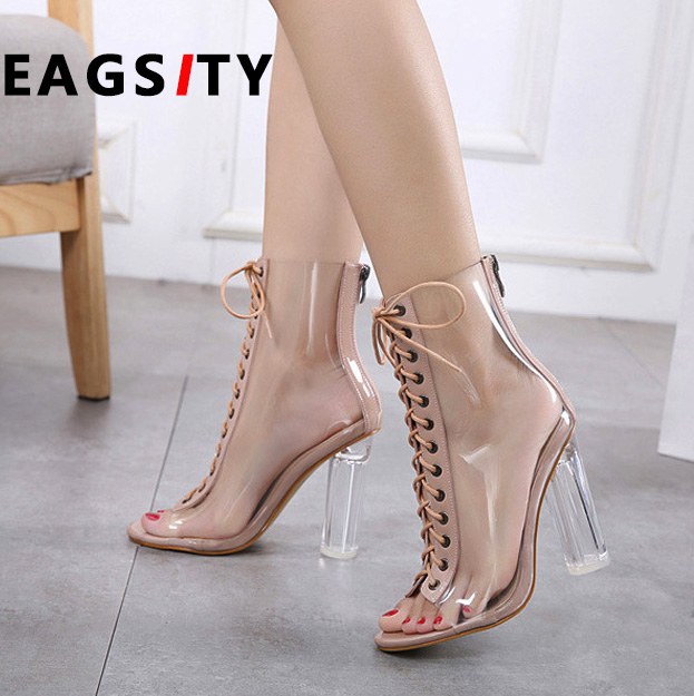 3485ddde764 US $29.26 41% OFF Transparent crystal heels women peep toe high heel  sandals gladiator zipper lace up sex pumps sandals boots-in High Heels from  Shoes ...
