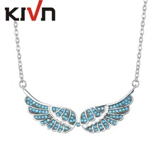 KIVN Fashion Jewelry Pave CZ Cubic Zirconia Angel Wing Feather Pendant Necklaces for Women Mothers Day Birthday Christmas Gifts