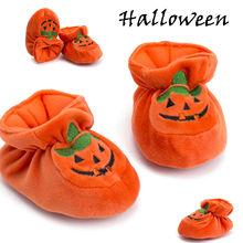 Милая повседневная обувь для маленьких девочек и мальчиков на Хэллоуин с изображением тыквы; мягкая хлопковая обувь с эластичной резинкой на талии для детей 0-18 месяцев
