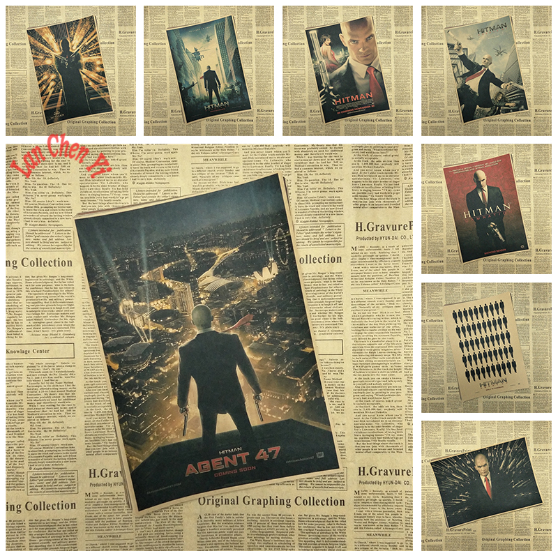 Hitman: Agent 47 Movie Kraft Paper Poster Bar Cafe Vintage High quality Printing Drawing core Decorative Painting image