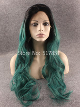 Dark Root Dark Green Wavy Ombre Wig Synthetic Lace Front Stylish Wig Wavy, Glueless Kanekalon Fiber Ombre Wig Green
