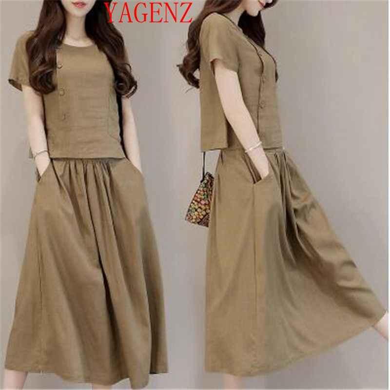 Женская летняя одежда из хлопка и льна, комплект из 2 предметов шт., модные f67a10667d2