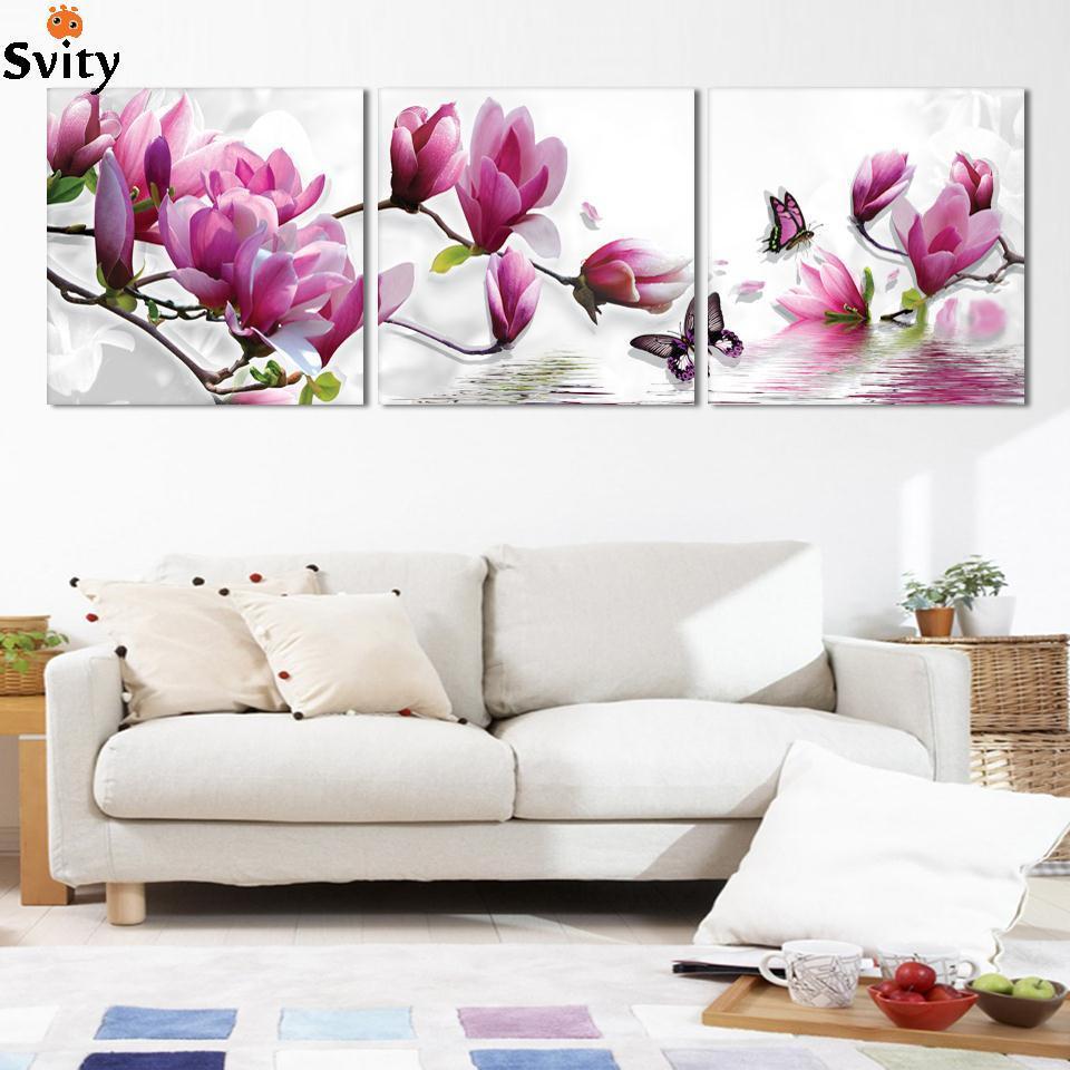 3 կտոր անվճար առաքում Էժան վերացական Ժամանակակից պատի ներկով մանուշակագույն վարդագույն ծաղիկ Տնային դեկորատիվ նկար Նկար ներկ կտավի վրա