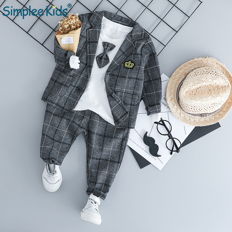 Simplee Kids 2018 Baby Boy Clothing Sets Male Children Clothes Suits Kid Gentleman Style Coats T Shirt Pants Grid Infant Clothes